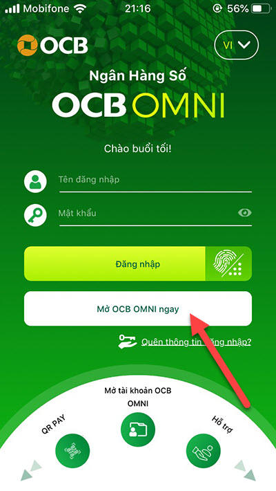 mở tài khoản ngân hàng online OCB OMNI